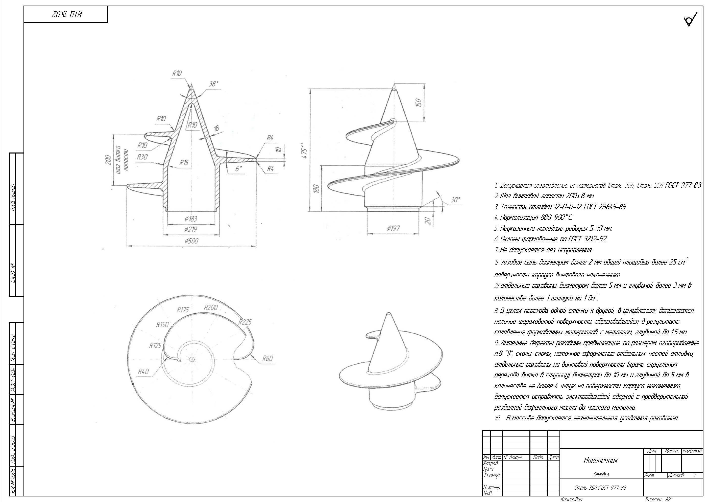 Литой наконечник для винтовых свай ВН 219/500